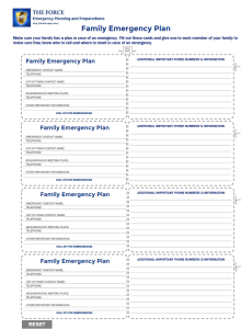 Family Emergency Plan Cards - The Force